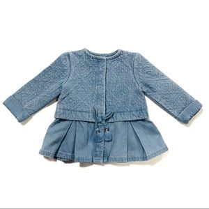 Tahari 3M-6M Denim Quilted peplum Dress